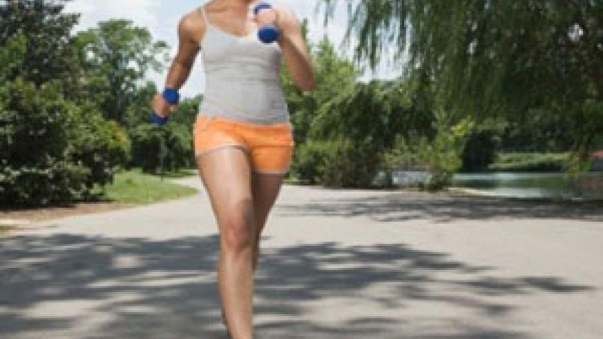 A lady strolling for fitness. Net photo.