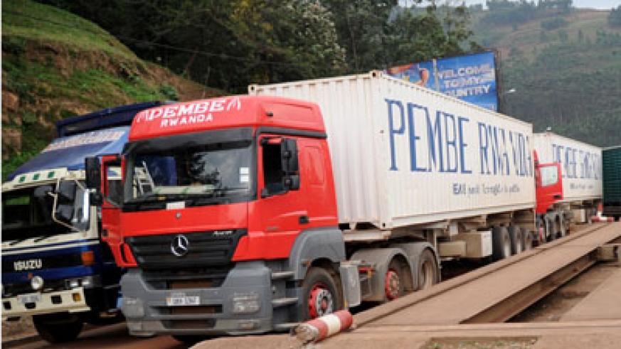 Trucks at the border. Cross border trade is one of the drivers of Rwanda's economy. The New Times / File.