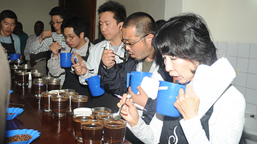 Coffee tasters during a past Cup of Excellence awards; The event is due to kick off at the end of this month. The New Times / File.
