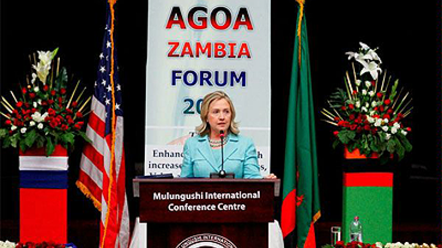 Secretary of State Hillary Clinton during a past AGOA function in Zambia. Net photo.