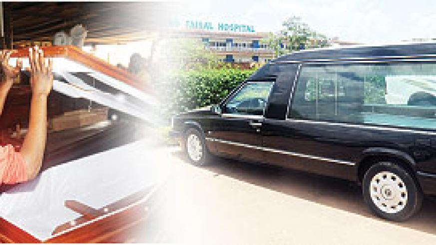 Rwanda Funeral Services'James Jingo displays some of his macabre wares.The funeral hearse at the entrance to King Faisal Hospital