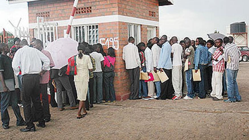 Job seekers submit applications. The New Times / File.