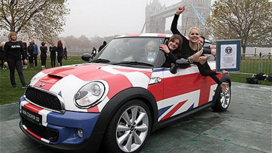 Believe it or not, there are 28 people in this Mini.
