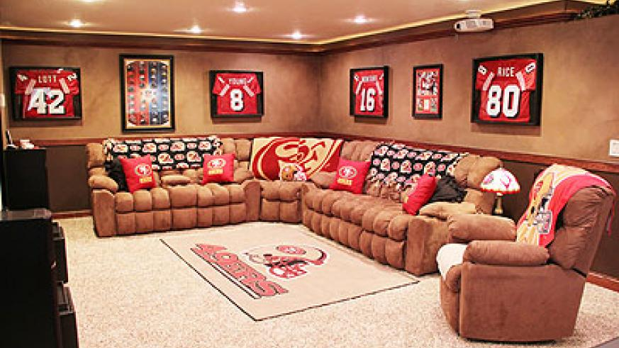 In a man cave, also needed is furniture, good, comfortable furniture.