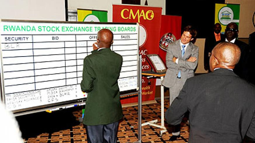 Trading at the Rwanda Stock Exchange. The New Times / File.