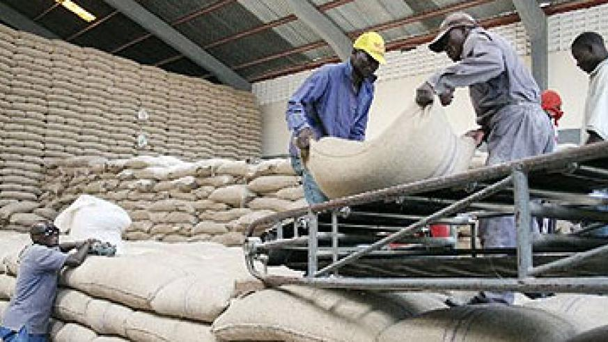 Off loading maize grain at a warehouse. Bakhresa Grain Millers Rwanda seeks to empower local farmers in order to supply them with raw materials. The New Times / File .