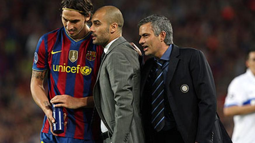 Then Inter Milan's coach Mourinho and coach of Barcelona Pep Guardiola and Zlatan Ibrahimovic. Net photo.