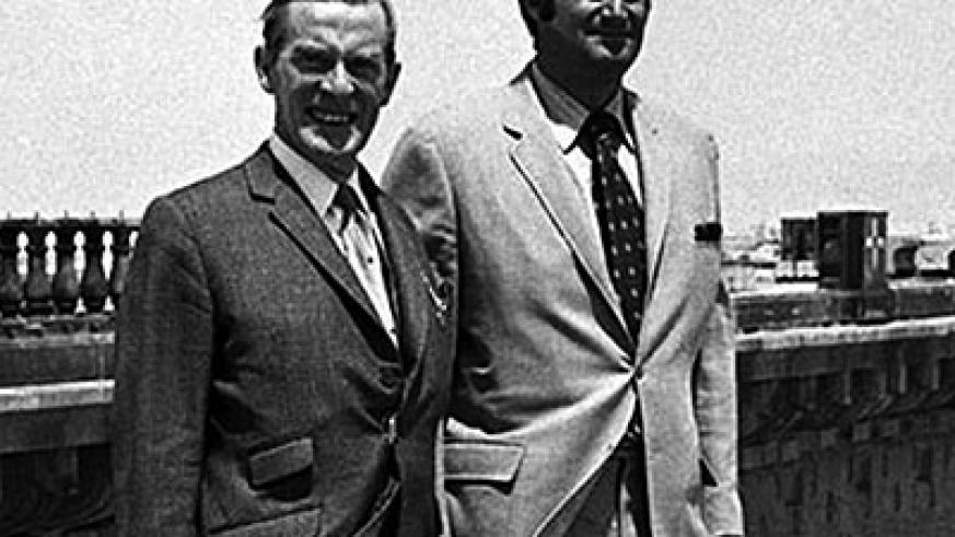 A bridge over the pond … Robert P McCulloch, right, stands with Desmond Heap, solicitor for the City of London Corporation, in front of London Bridge at Lake Havasu in 1971. Photograph: Popperfoto/Getty Images
