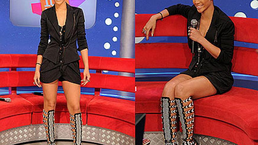 Rihanna looking resplendent with her Bootdals. All Net photos.