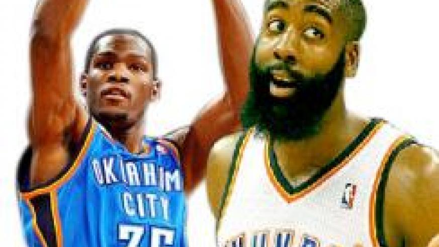 Champion Kevin Durant, who is leading the league with a 28.6 point average.James 'The Beard' Harden.