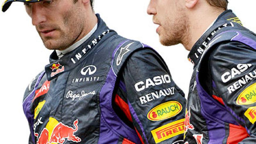 Vettel (right) ignored team orders and overtook Red Bull teammate Mark Webber (left) for the victory with just 10 laps remaining. Net photo.