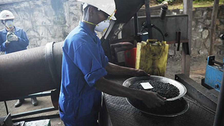 A miner working at a cassiterite processing plant in Northern Province. The New Times / Courtesy.