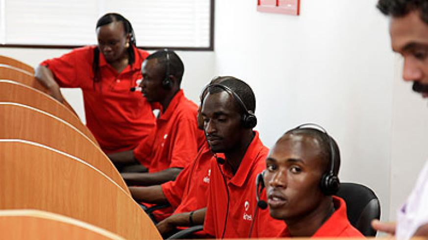 Staff of Airtel at their call center. Many students are employed by Telecom companies around town. Education Times/Timothy Kisambira