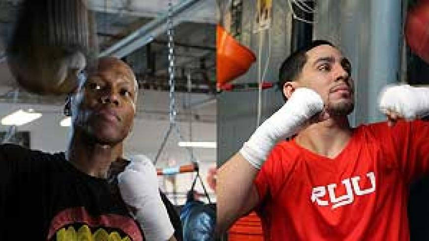 Zab Judah during a work-out in the build-up to Saturday night fight against Danny Garcia (right).