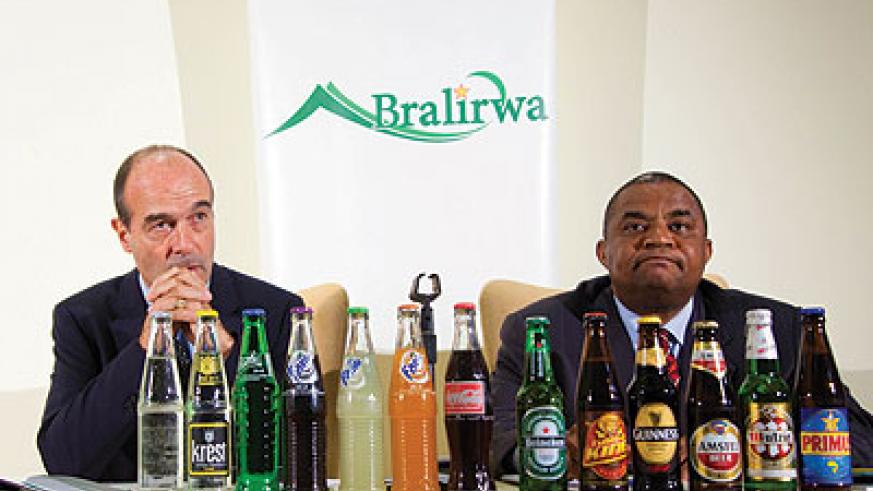 Bralirwa officials at the unveiling of the results. The New Times / T. Kisambira