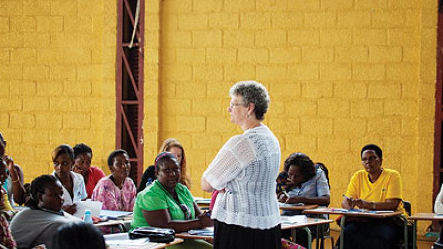 Teachers undergoing training at Green Hills Academy on Saturday. The New Times/ Timothy Kisambira