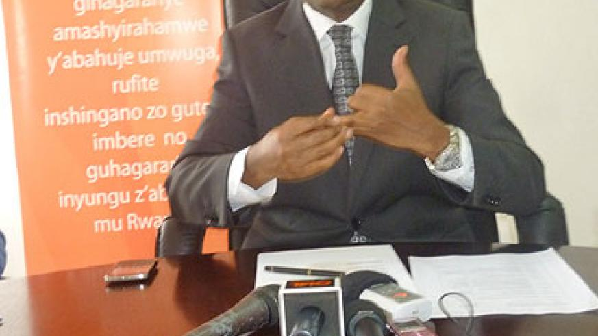 PSF boss Namara addresses reporters on the preparations of this year's International Trade Show. The New Times / Peterson Tumwebaze