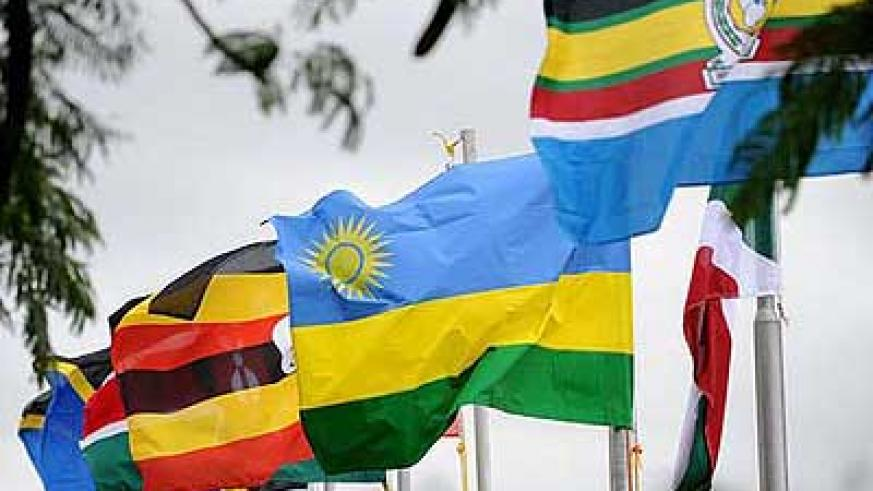 The flags of EAC and its five partner states. Net photo.