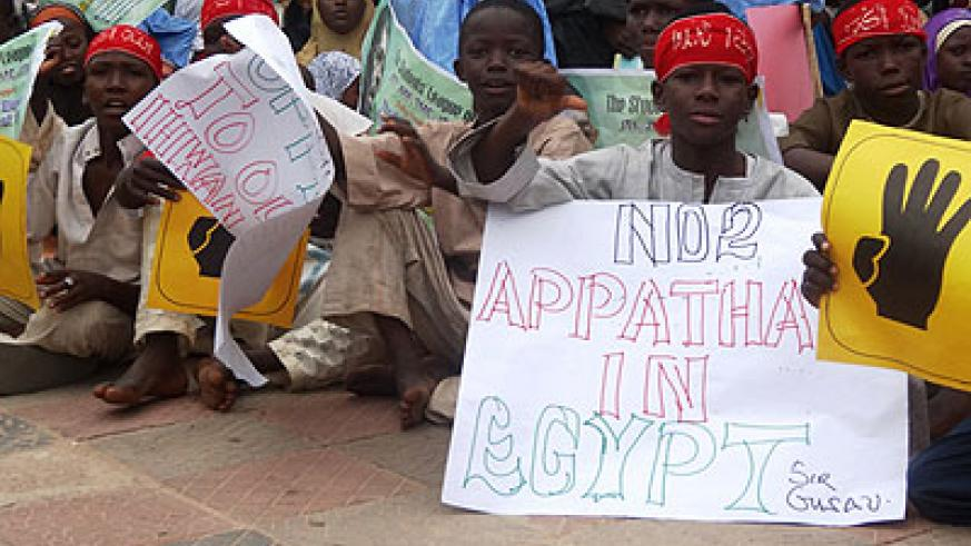 Leaders of the protest movement told a crowd of 5,000 in Kano state that the killings in Egypt had to stop. Net photo.