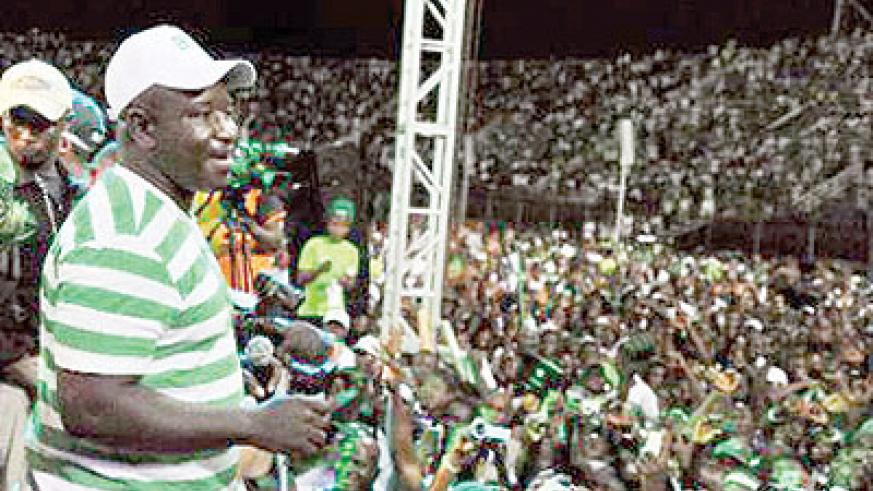 Julius Maada Bio addresses supporters at the national stadium in Freetown on November 15, 2012. He has stepped down as leader of the Sierra Leone People's Party. Net photo.