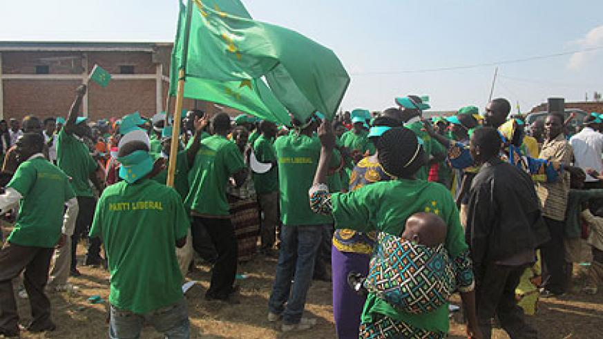 PL supporters during the party's  campaigns yesterday.   The New Times/ Jean de la Croix Tabaro