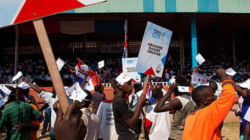 Some of the party's supporters at Camp Kigali Stadium on Tuesday. The New Times/Timothy Kisambira