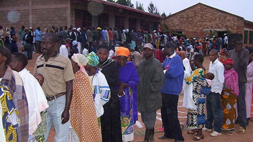 Eligible voters queue to cast their votes. On September 18, the youth and the disabled are slated to vote for their representatives. The New Times/ File.