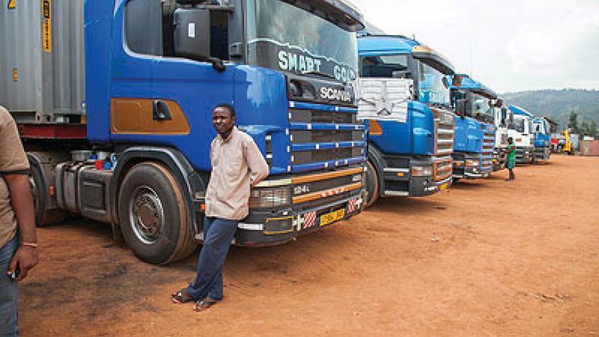 Transporters wait to clear cargo. Such a scene will be a thing of the past will the launch of the single customs territory by the end of this month. The New Times / File photo