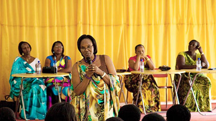 Former Speaker Rose Mukantabana campaigns before the Kigali women electoral college, yesterday, with her opponents in the background. The New Times/ Timothy Kisambira.