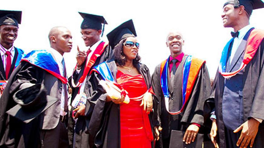 Some of the graduates chat after being conferred upon. The New Times/ T. Kisambira.