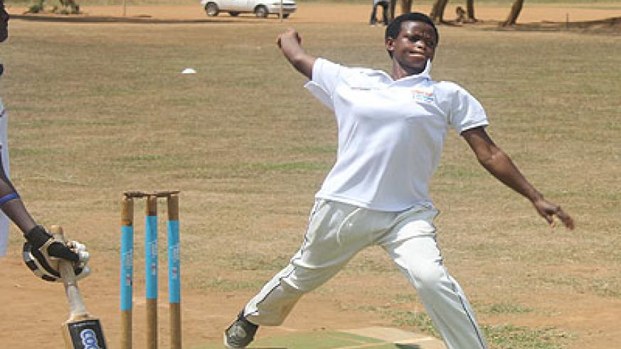 Egidia Uwimana of Kigali Angels bowling against a Charity CC batswoman (not in photo) on Saturday. Times Sport / Courtesy.