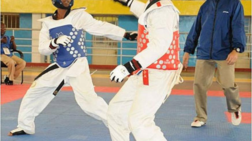 Local Taekwondo players exhibiting their skills during the East African tournament early this year at Amahoro stadium. The New Times / File.
