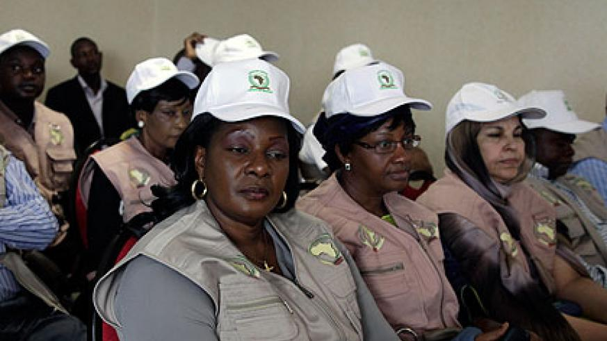 Some of the  African Union election observers during a press briefing yesterday. The New Times/ John Mbanda.