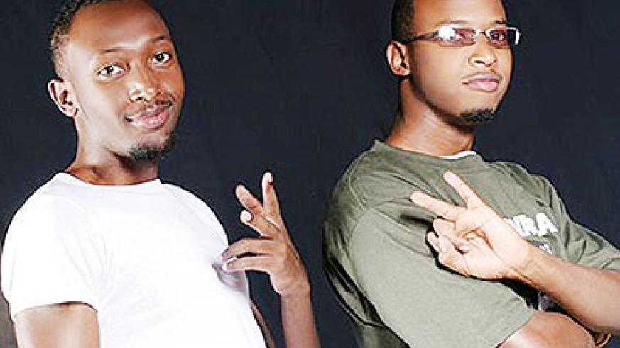 DJ Pius (L) with Two4Real group mate Aidan TK. Saturday Times/Net photo