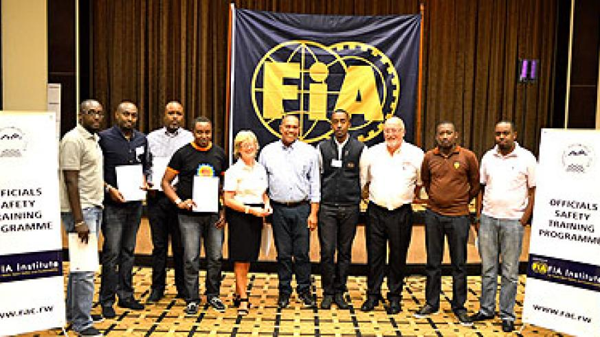 Senior Officials from Rwanda Automobile club who benefitted from safety training programme at Serena Hotel recently. Saturday Sport / Courtesy.