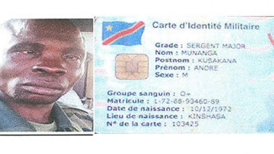 Sgt-Maj. Munanga was identified by these documents that he had on him, according to the Ministry of Defence.