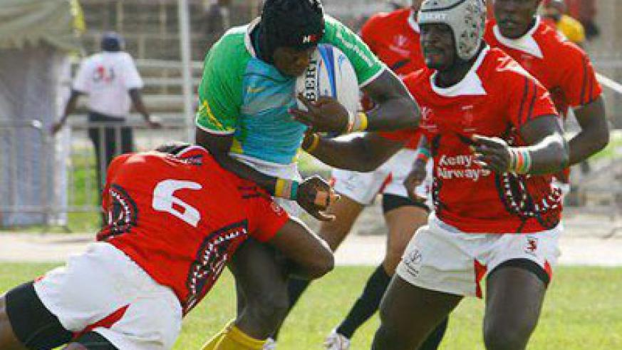 Silverbacks' Lucien Bikamba (C), seen here in action against Kenya in last year's Safaricom 7s. Times Sport/File