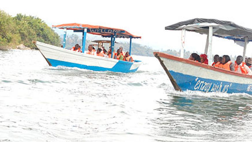 Tourists on Lake Kivu, arguably one of the most beautiful water bodies in the region. The New Times/ Jean Pierre Bucyensenge.