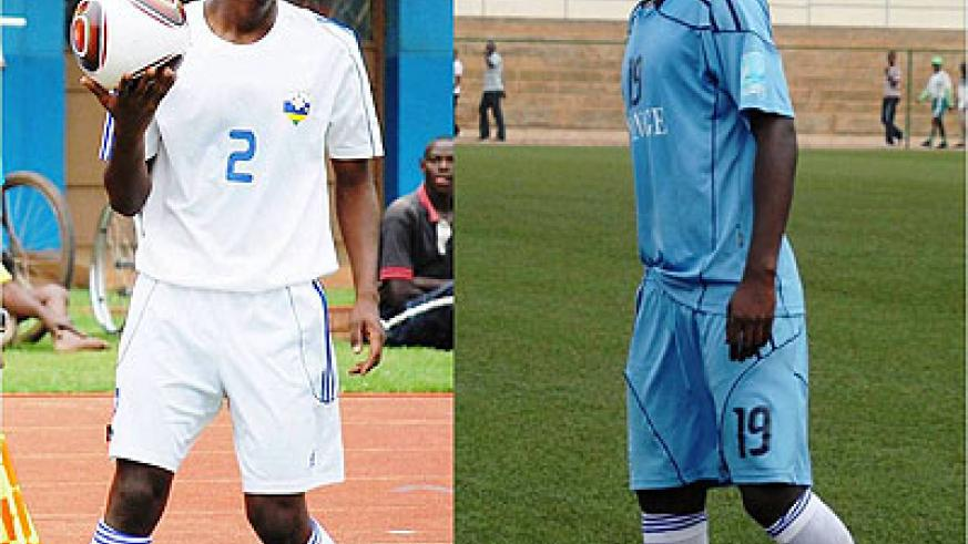 Michel Rusheshangoga (L) and Salomon Nirisarike (R) are both products of Sec Academy, which is currently the main football academy in Rwanda.  Times Sport/ File.