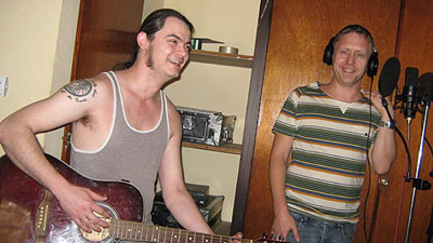 (L-R) Keith White and Iain Stewart at Buddies studio. The New Times /Courtesy.