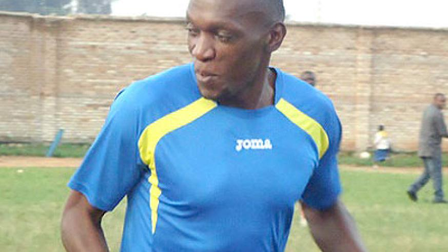 Meddie Kagere training with Rayon Sports in Nyanza on Wednesday. Times Sport/Courtesy