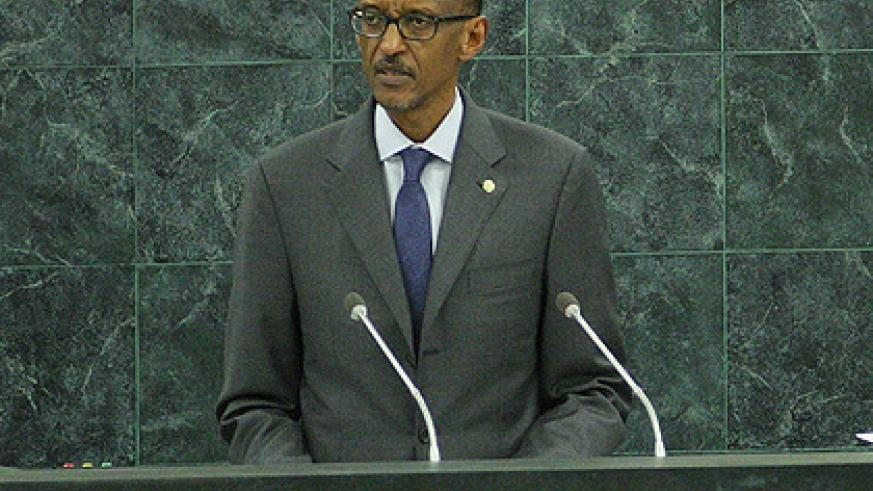 President Kagame addresses the 68th UN General Assembly in New York yesterday. The New Times/Village Urugwiro