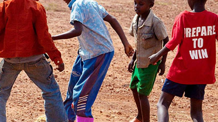 Children play football. World leaders want education for refugee children prioritised. The New Times/File