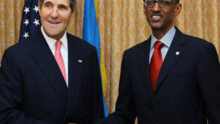 President Kagame with Secretary Kerry in New York yesterday. The New Times/Village Urugwiro