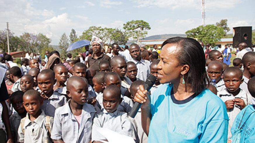 Imbuto Foundation vice president Zaina Nyiramatama, during yesterday 'Open Day' on Adolescent Sexual Reproductive Health and Rights in Butamwa, Nyarugenge District.    Saturday....