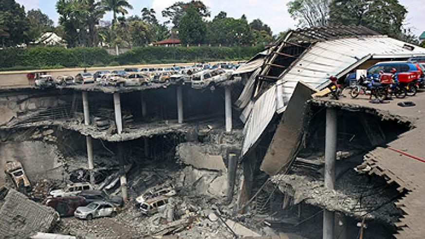 What is left of the Westgate shopping mall in the Kenyan capital Nairobi after the terror attack . Net photo.