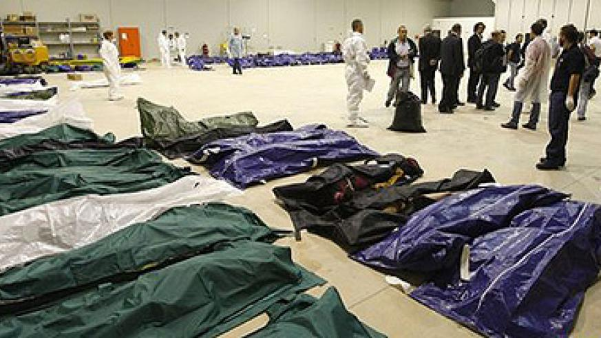 Bodies were taken to a hangar at the airport, because the island's mortuary couldn't cope. Net photo.