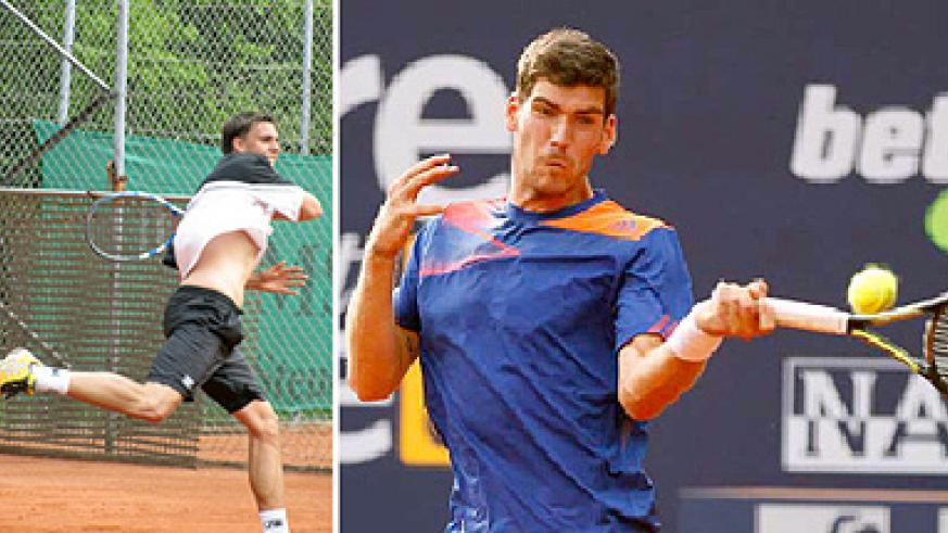 Top seeded Melzer Gerard (right) is favourite to beat his compatriot Lukas Jastraunig (left) in today's final. Saturday Sport/ P. Muzogeye.