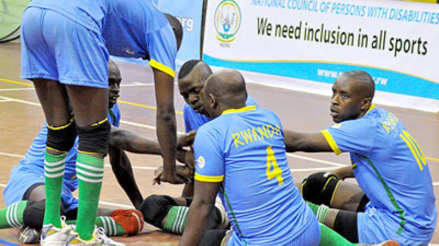 GETTING READY: Defending champions, Rwanda prepare for the opening match against Kenya yesterday at the National Paralympic Committee gymnasium. Saturday Sport / P. Muzogeye.