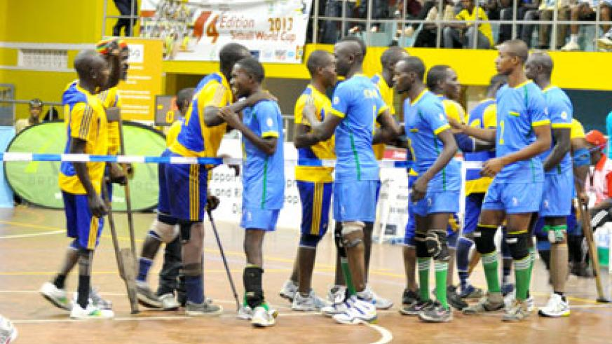 Rwanda and DRC teams during the just ended Sitbal World Championships won by Germany at the National Paralympic Committee gymnasium yesterday. Sunday Times/Plaisir Muzogeye